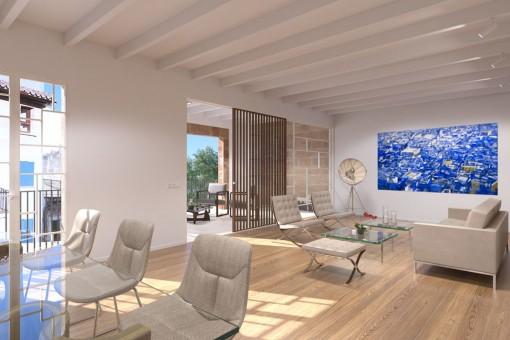 Offener Wohn- und Essbereich des Apartments in Palma