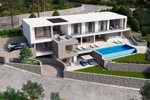 Exklusives Baugrundstück mit Baugenehmigung und Meerblick in Camp de Mar