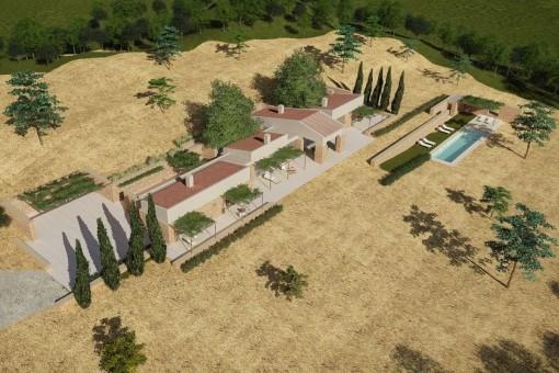 Großes Baugrundstück mit genehmigtem Projekt nach altem Baugesetz in idyllischer Lage in Son Macia