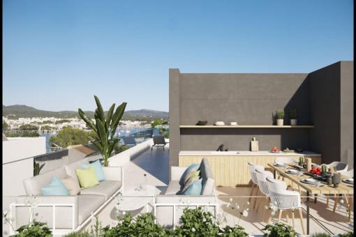 Einladende Dachterrasse