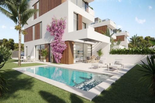 Neubauprojekt aus exklusiven Doppelhaushälften mit 5 SZ, privatem Pool und Meerblick in Portocolom