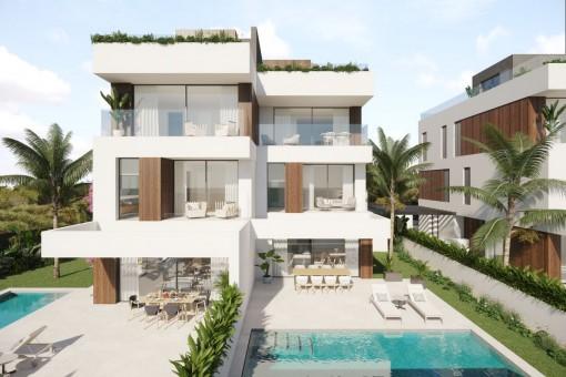Neubauprojekt aus erstklassigen Doppelhaushälften mit 3 SZ, privatem Pool und Meerblick in Portocolom