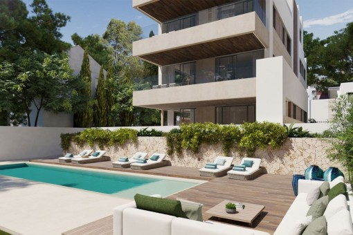 Wunderbare Erdgeschoss Neubauwohnung in schöner Anlage mit Terrasse und Garten in Son Armadams