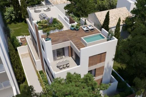 Phantastisches Neubau Penthouse mit Dachterrasse und privatem Pool in Palmas Bestlage Son Armadams