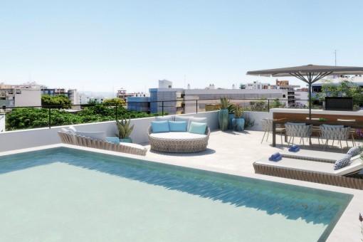 Fantastisches Penthouse Apartment mit privater Dachterrasse und Pool in einer Neubau Anlage in Son Armadams