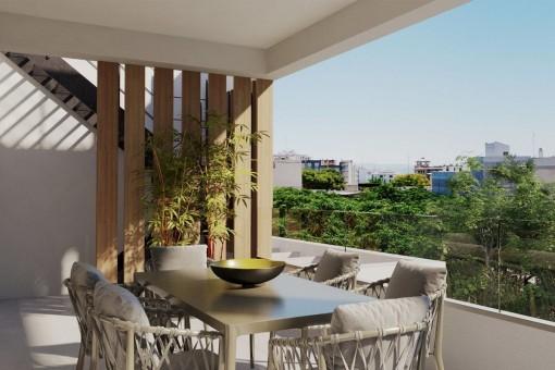Fantastisches Apartment in zweiter Etage mit Terrasse in einer Neubau Anlage in Son Armadams