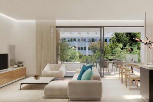 Fantastisches Erdgeschoss Apartment mit großem Outdoorbereich in einer Neubau Anlage in Son Armadams