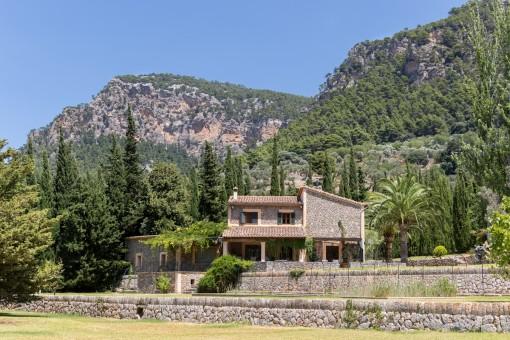 Blick auf die Finca mit Berg im Hintergrund
