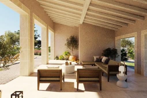 Überdachte Terrasse der Finca