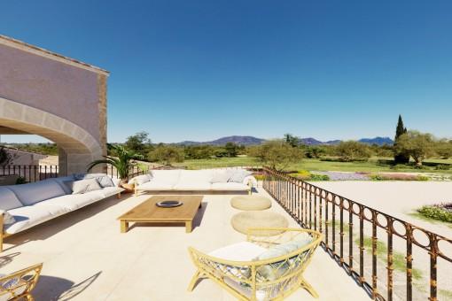 Große Terrasse mit Ausblick