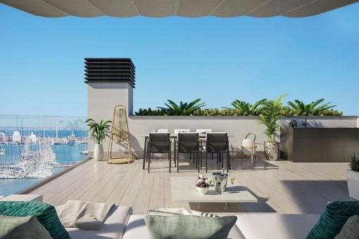 Spektakuläres Penthouse in einem Neubau mit Meerblick und Dachterrasse in Palma