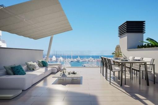 Spektakuläres Neubau-Penthouse mit 2 Terrassen in Palma