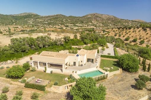 Extravagante Finca mit Panoramablick, viel Privatsphäre und eigenem Pool in Son Macia