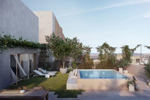 Luxuriöses Appartement mit großer Dachterrasse und Pool in Neubau-Passivhaus in Palma