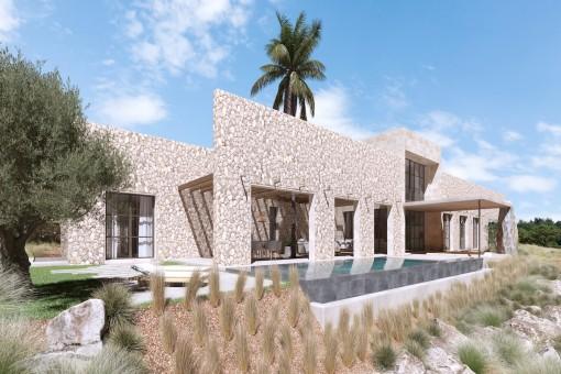 Umwerfendes Grundstück mit Projekt und atemberaubenden Weitblick bis hin zum Meer in Traumlage nahe Santanyí