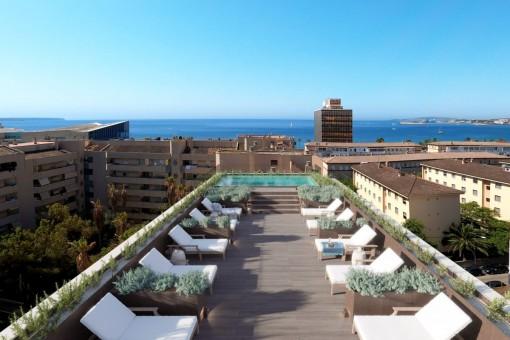 Schickes 2 SZ-Neubauapartment mit Gemeinschaftspool auf der Dachterrasse in Palmas Zentrum