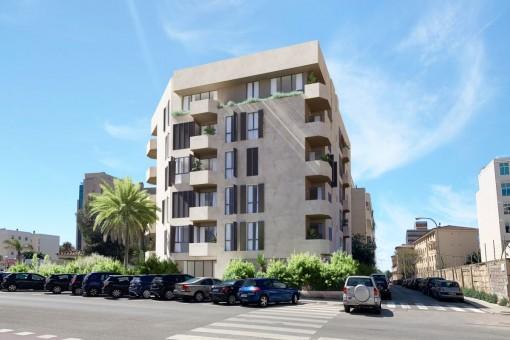 Schickes 3 SZ-Neubauapartment mit Gemeinschaftspool auf der Dachterrasse in Palmas Zentrum