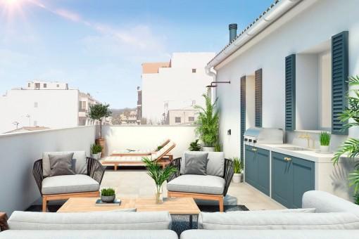 Charmantes Stadthaus mit 2 Terrassen in Santa Catalina