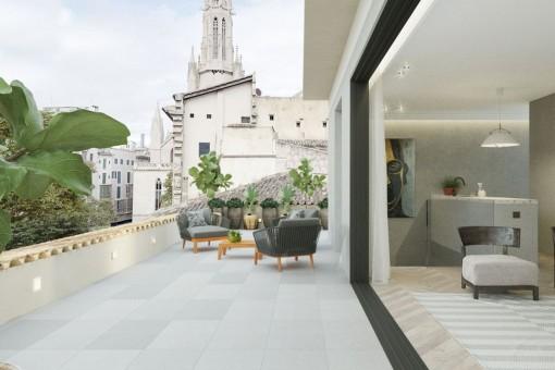 Exklusive Maisonette-Wohnung in historischem Gebäude mit großer Terrasse im Herzen der Altstadt von Palma