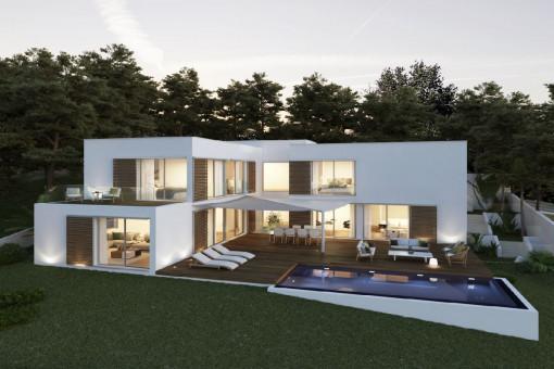 Neubauprojekt! Moderne Luxusvilla mit Meerblick mit Indoor- und Outdoor-Pool in Font de sa Cala