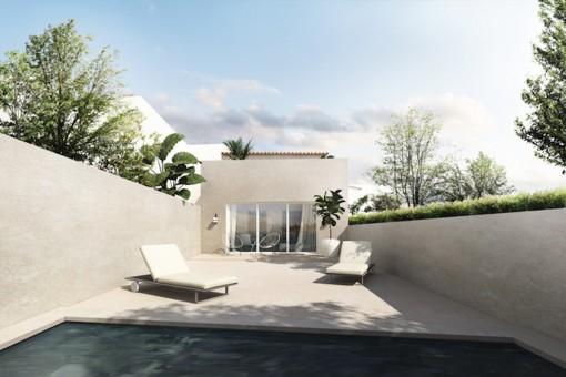 Neues, modernes Stadthaus mit Pool in zentraler Lage von Santanyí