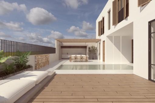 Luxuriöses Neubau-Stadthaus mit Pool in Toplage von Santanyí