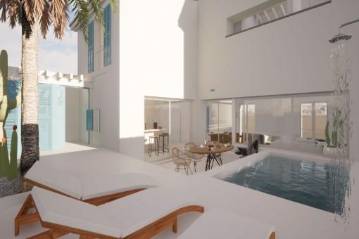 Einzigartiges Projekt für ein modernes Stadthaus mit Pool im Herzen von Colonia Sant Jordi