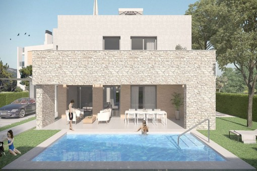 Moderne Neubauvilla mit privatem Pool in schöner Wohnanlage nur wenige Gehminuten vom Meer entfernt in Portocolom