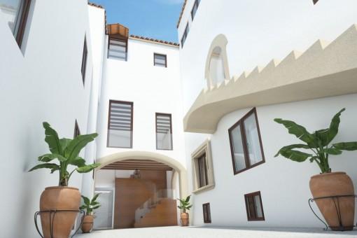 Erdgeschoss Duplex Wohnung mit Patio in einem historischen Stadtpalast im Herzen von Palmas Altstadt