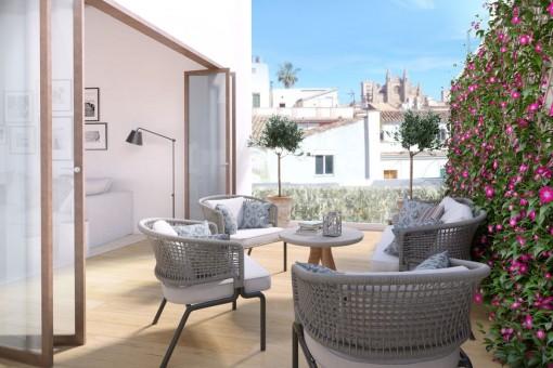 Elegantes 3 SZ Penthouse mit Terrasse in einem historischen Stadtpalast im Herzen von Palmas Altstadt