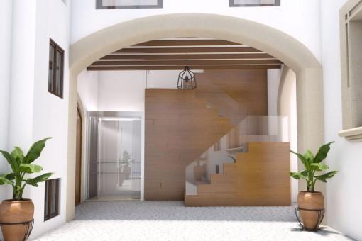 Eingang und Aufzug