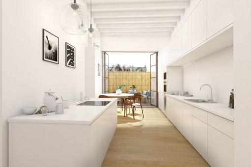 Elegante, voll ausgestattete Küche