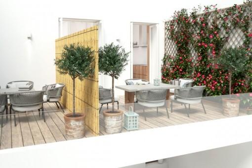 Terrasse mit Wohnbereich