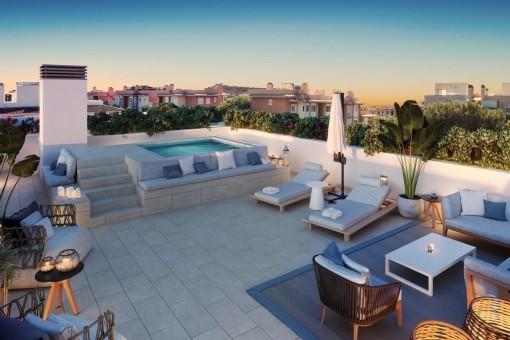 Modernes 2-SZ Neubau Penthouse mit großer privater Dachterrasse und Pool in zentraler Lage in Palma