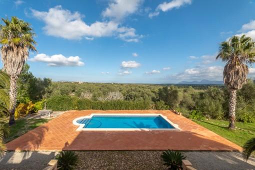 Blick auf den privaten Poolbereich