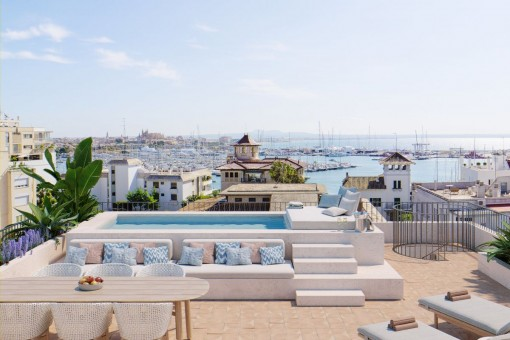 Neubau Penthouse Apartment mit Meerblick und eigenem Pool in Hafennähe von Palma