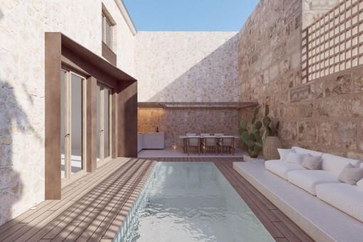 Stadthausprojekt mit Terrasse und Pool in Sineu
