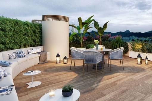 Modernes Neubau Penthaus im vierten Stockwerk mit privater Dachterrasse und Rooftop Pool in Palma
