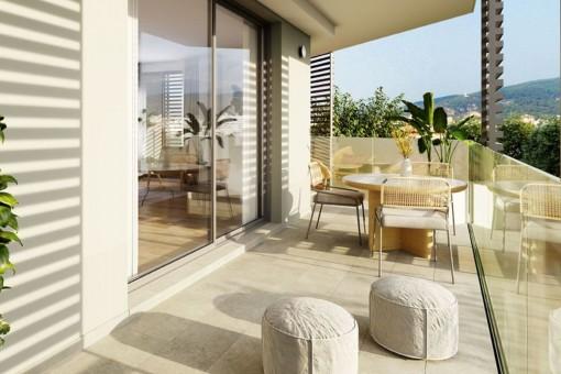 Stilvolles 3SZ-Neubau Apartment mit großem und sonnigen Eckbalkon und Rooftop-Pool in Palma-kaufen