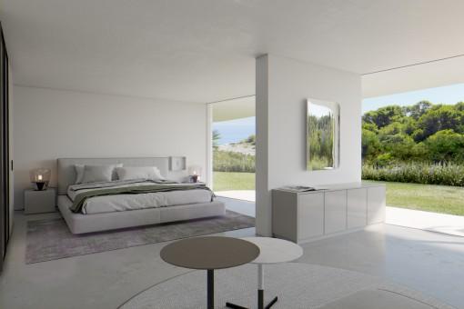 Schlafzimmer mit großen Panoramafenstern
