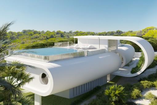Sonniger Poolbereich auf dem Dach