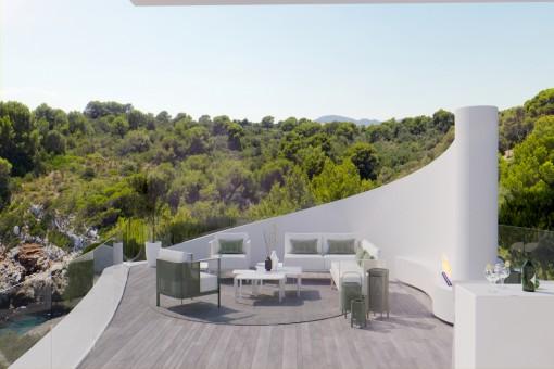 Essbereich auf der Terrasse