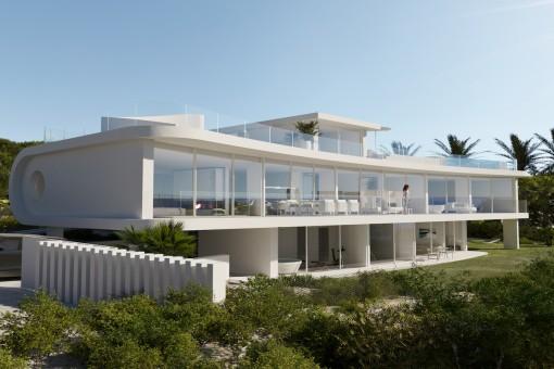 Atemberaubende Luxus-Neubau-Villa mit spektakulären Design in 1. Meereslinie in Porto Cristo