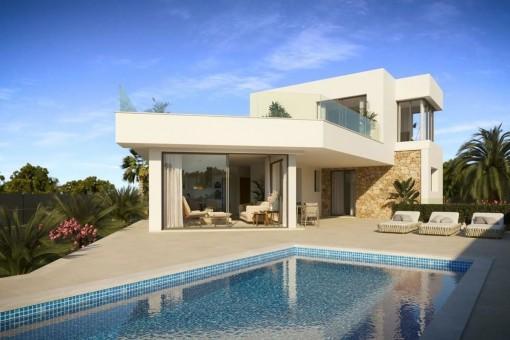Exklusive Neubauvilla in Vallgonera mit Pool in zweiter Meereslinie