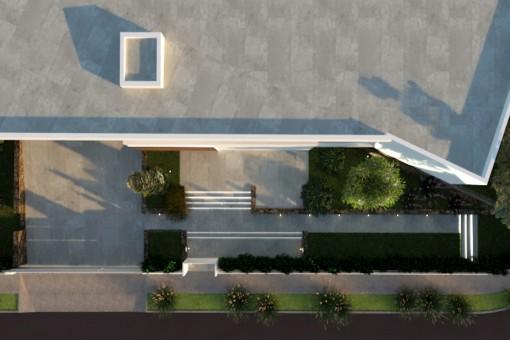 Die Villa aus der Vogelperspektive