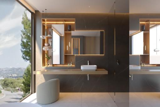 Badezimmer des Hauptschlafzimmers