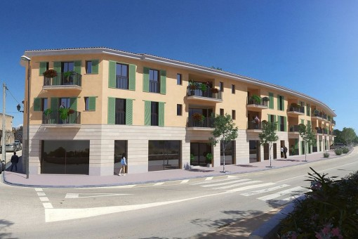 Interessant geschnittene, großzügige Gewerbefläche im Erdgeschoss eines Neubaus in Santanyí