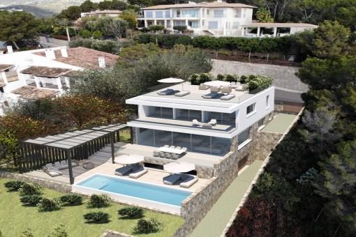 Moderne Neubauvilla mit Panoramameerblick in Portals Nous