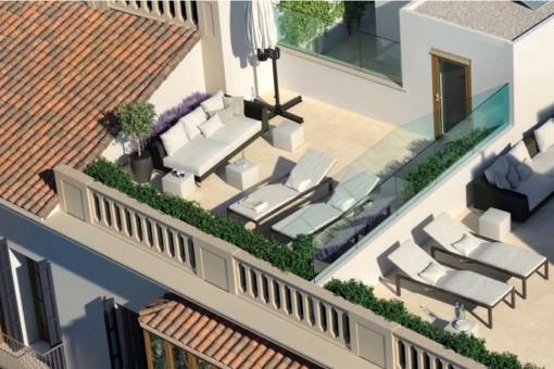 Ansicht der Dachterrasse
