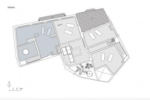 Bauzeichnung der Terrasse